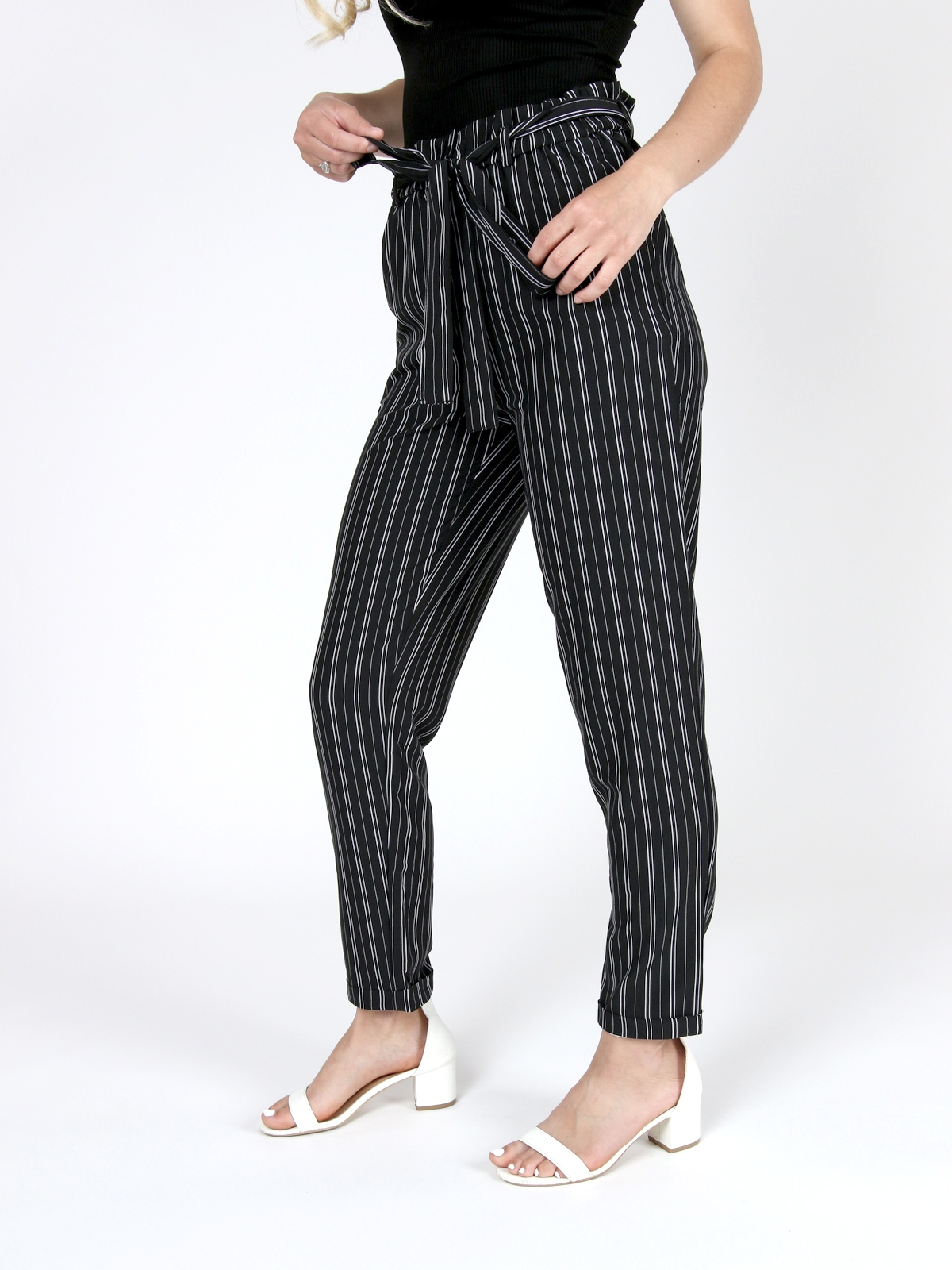 Deanna Pinstripe Tie Pant