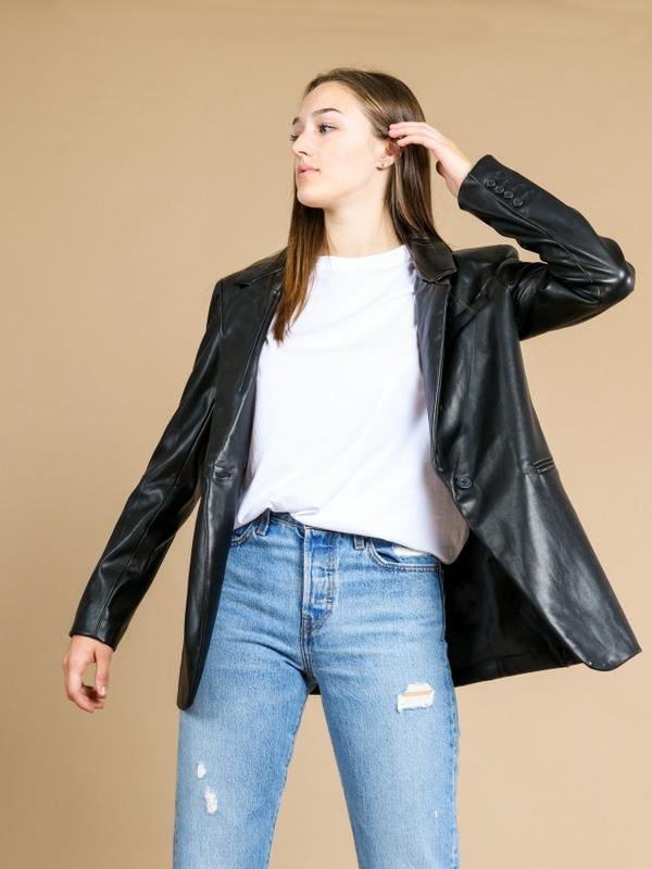 Lola Vegan Leather Blazer