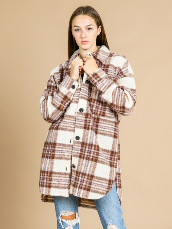 ONLY Rosa Long Plaid Shacket