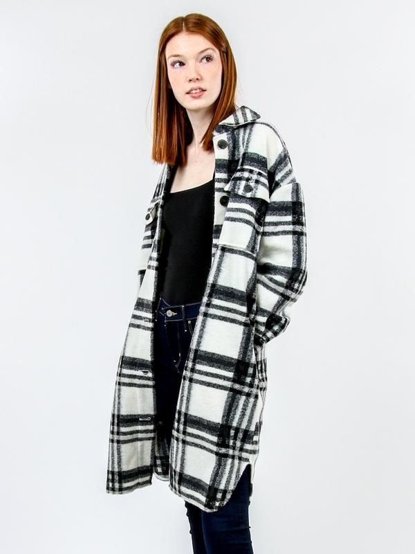 Chrissie Long Checkered Plaid Shacket